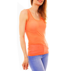 Mesh Tanktop transparent orange