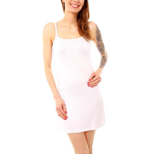 Damen Top lang Longtop Unterkleid Strandkleid Spaghetti Minikleid Baumwolle